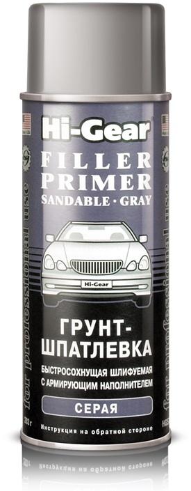 Грунт-шпатлевка автомобильная с армирующим наполнителем FILLER PRIMER SANDABLE, быстросохнущая, шлифуемая, серая, 283 г