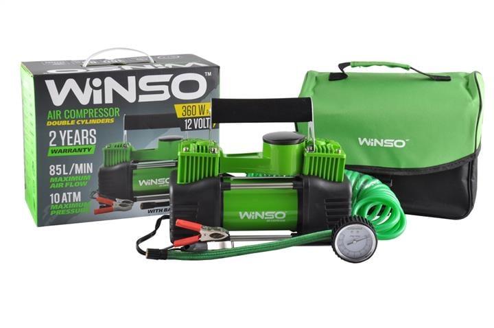 """Компрессор """"WINSO"""" 10 Атм, 85 л/мин. 2-цилиндра 360Вт.клем, кабель 3м., шланг 5,7м., спускной клапан"""