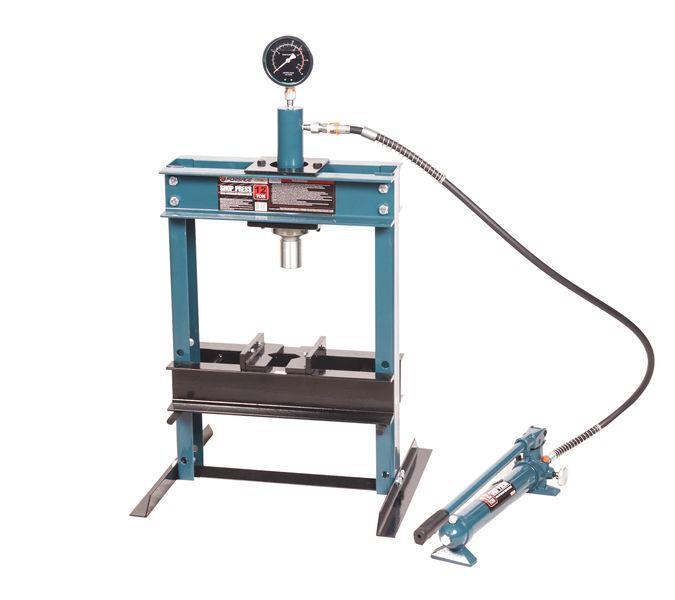 Пресс настольный гидравлический с манометром и выносным насосом 12т (раб. высота: 0-340мм, раб. ширина: 400мм,