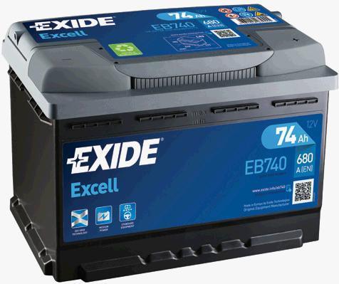 Батарея аккумуляторная Exide Excell 12В 74Ач 680A(EN) R+