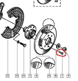 Болт крепления тормозного диска