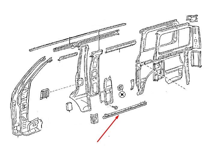 Кронштейн порога кузова Toyota 61451-95J00