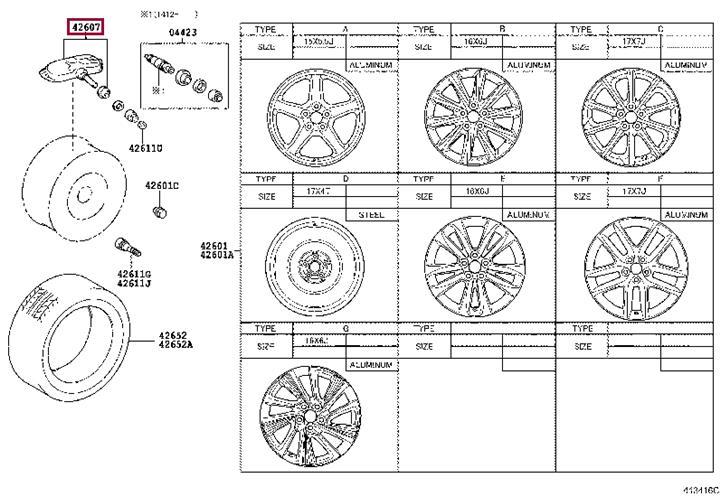 Защитный клапан, монитор давления в шинах Toyota 42607-30060