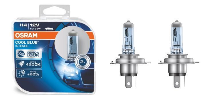 Лампа галогенная Osram Cool Blue Intense +20% H4 12V 60/55W 4200K (2 шт.)