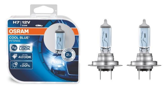 Лампа галогенная Osram Cool Blue Intense +20% H7 12V 55W 4200K (2 шт.)