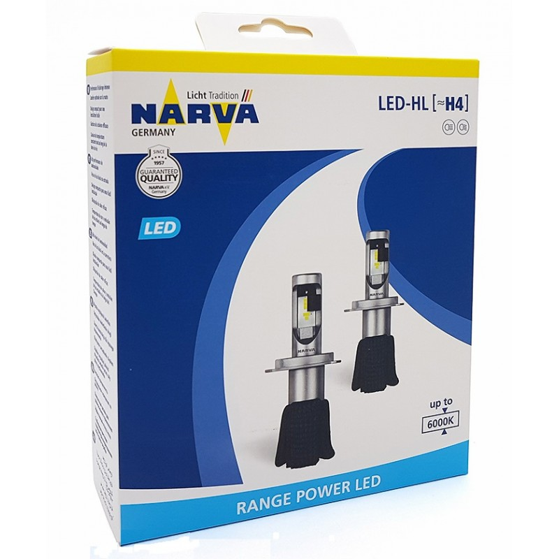 Лампы светодиодные комплект Narva Range Power LED H4 12V 15,8W 6000K (2 шт.)