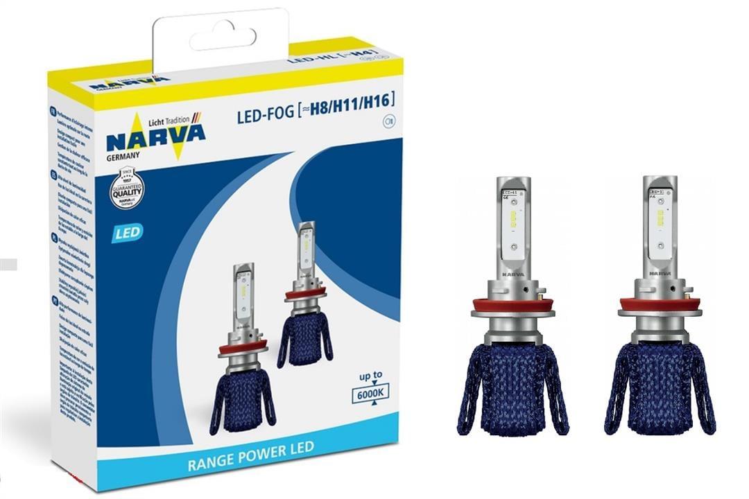 Лампы светодиодные комплект Narva Range Power LED-FOG H8/H11/H16 12V 16W 6000K (2 шт.)