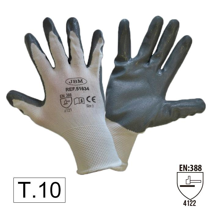 Перчатки с нитриловым покрытием ладоней (Т.10)