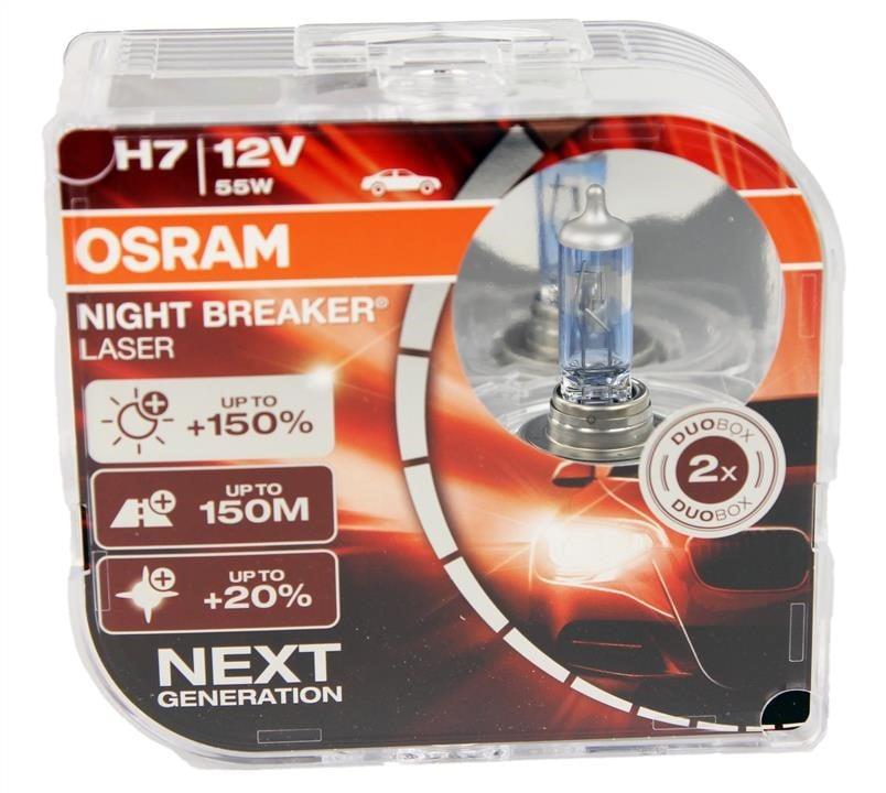 Лампа галогенная Osram Night Breaker Laser +150% H7 12V 55W (2 шт.)