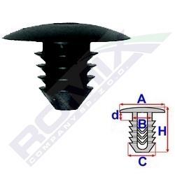 Клипса mercedes (обивка двери и другие обивки) размеры:  a 24,7 c 9,8 d 13,4 h 27,4